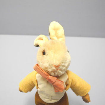 "Vintage Baby Toy, 1950's Unmarked Rare Steiff ""Bib"" Bunny Rabbit, Light Brown Steiff Bunny Rabbit, Steiff Hare, Steiff Boy Bunny Rabbit"