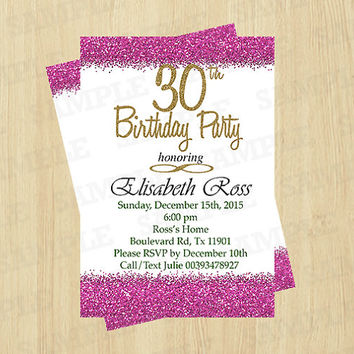 30th Birthday Invitation Female Adult Woman 40th 50th