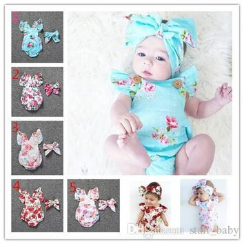 Baby Floral Rompers with matching Headband