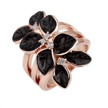 Black Leaves Gold Plated Ring Jewelry Nickel Free Austrian Crystal Size 8