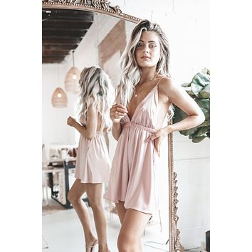Yes Sis Little Satin Blush Dress