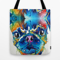 Colorful Pug Art - Smug Pug - By Sharon Cummings Tote Bag by Sharon Cummings