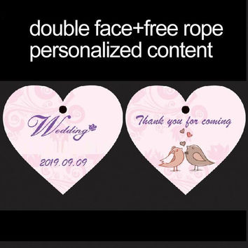 200pcs/lot personalized  double face heart shape candy tag favor tag for wedding  bridal shower baby shower wedding decoration