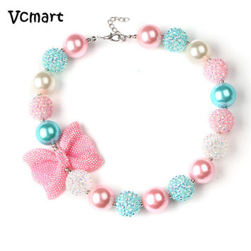 Vcmart 2Pcs Candy Beaded Bubblegum Necklace Kids Birthday Gift Rhinestone Bowknot Girls Chunky Necklace for Toddler