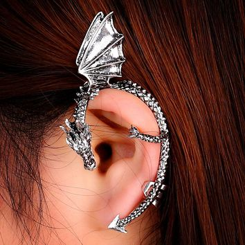 Personality Gothic Punk Vintage Dragon Wing Ear Cuff Earrings For Women Silver Black Bronze Clip On Earings 1Pc On Left