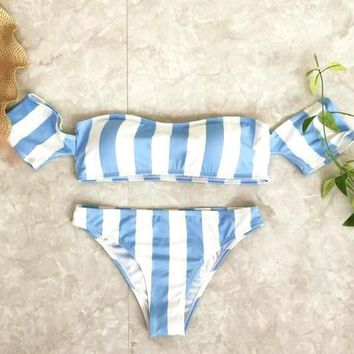 Sexy Vertical stripes blue white off strapless short sleeve two piece-1