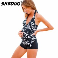 Pregnant Swimwear Print Bathing Suit Plus Size Maternity Tankini Set Swimsuit Women Swimwear Suit Two-piece Swimming Suit