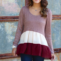 Metallic Ruffle Sweater {Mauve}