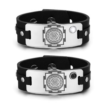 Sri Yantra Chakra Magic Amulets Love Couples White Simulated Cats Eye Simulated Onyx Bracelets