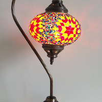 Yellow and Red Swan Neck Turkish Mosaic lamp with vintage look metal base, Midcentury lamp, Authentic Lamp, Boho Lamp, Mosaic Night lamp
