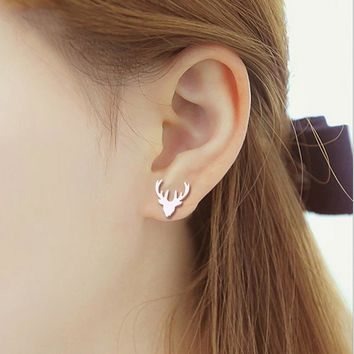 1Pair New Deer Head Antlers Stud Earrings Boucle d'oreille Fashion Studs Earring Accessories Jewelry For Kids Grils Women