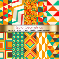 Retro Geometrics Digital Paper: 12x12 Scrapbooking Papers - Craft Supplies for papercrafting invitations - Instant Download Printable