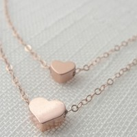 Olive Yew Jewlery: Double Strand Heart Necklace, Personalized Charm Necklaces