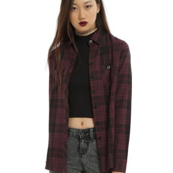 Purple & Black Plaid Girls Woven