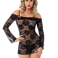 Lusty Lace Long Sleeved Chemise