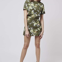 Leaf Print Overlay Dress - Topshop