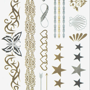 Greek Goddess Gold and Silver Metallic Flash Tattoo Pack - Hair, Arm, Body