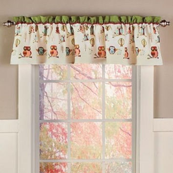 Owl Bathroom Set Collection Accessories Window Valance Curtain Owls NEW