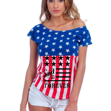 American and forever 4th of july Usa Flag shirt Women's Drop Shoulder Shirt
