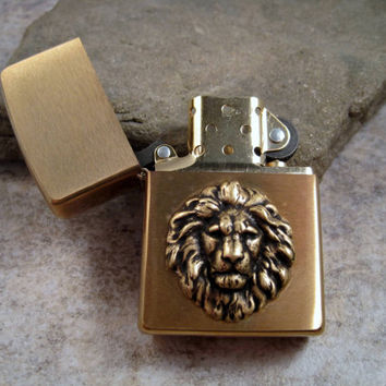 Genuine Brushed Gold Zippo Steampunk Oxidized Brass Lion Head Cigarette Lighter
