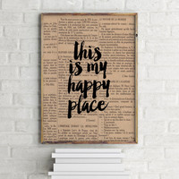 Dictionary art print Dictionary page There's No Place Like Home Home Is Wherever I'm With You Home Decor Home Print Wall Art Wall Hanging