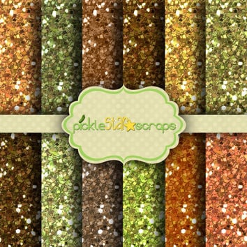 Autumn Glitters - 12 Digital Printable Scrapbook Papers -12x12inch - Textured Backgrounds - INSTANT DOWNLOAD