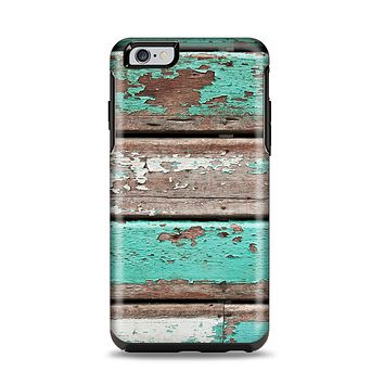 The Chipped Teal Paint On Wood Apple iPhone 6 Plus Otterbox Symmetry Case Skin Set