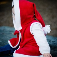 Childrens christmas clothing  red and white  hoodie by bonbonLand
