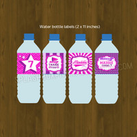 Cheerleader Printable Birthday Water Bottle Labels - Cheerleading hot pink, violet and purple Bottle Labels - Cheer Party Water Bottle Label