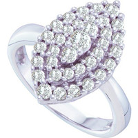 Diamond Fashion Ring in 14k White Gold 1 ctw