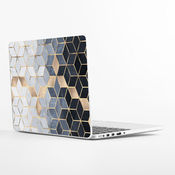 Soft Blue Gradient Cubes Laptop Skin