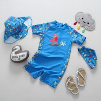 Boys Swimwear One Pieces Swimming Suit Skateboard Dinosaur Print Blue Swimsuits for Children Sunscreen Beachwear Bathing Suits