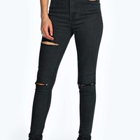 Zoe Super Soft High Rise Slash Knee Skinny Jean
