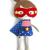 Patriotic american superhero girl rag doll, little miss independence, 4th of July kids gift, independence day american flag style dress