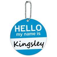 Kingsley Hello My Name Is Round ID Card Luggage Tag