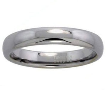 "Tungsten 4 mm (5/32"""") High Polish Comfort Fit Dome Wedding Band / Thumb Ring."