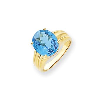 14k Yellow Gold 12x10mm Oval Blue Topaz Ring