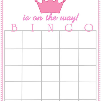 Princess Themed Baby Shower Bingo Cards