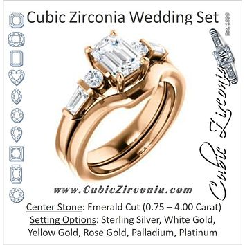 CZ Wedding Set, featuring The Sarah engagement ring (Customizable 5-stone Design with Emerald Cut Center and Baguette/Round Bar-set Accents)
