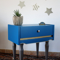 Bedhead vintage 60's, Night table, Pedestal table, peacock blue, French vintage