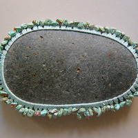 Crocheted Lace Stone, made with Turquoise Nuggets and Mint Thread on Green-ish Gray Stone, Handmade by Monicaj