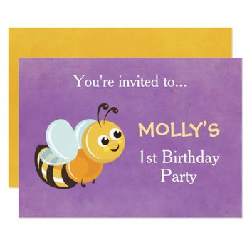 Cute Purple Yellow Bee Birthday Invitation Card