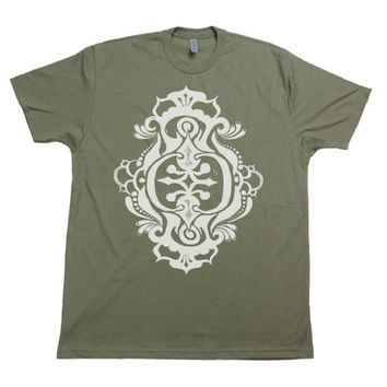 Men's Original Victorian, Bohemian, Tribal Design T-shirt - Hand Screen Printed-