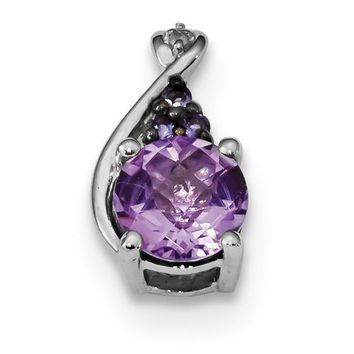 Sterling Silver Amethyst, Iolite and Diamond Pendant