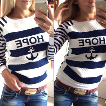 Harajuku Hoodie Sweatshirt Women's Sports Suits Female Sweatshirt Boat Anchor Printed Navy Striped Jogging Suits For Women