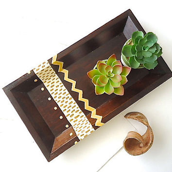 Chevron Wood Tray. Contemporary Home. Hostess Gift. Primitive Tribal Inspiration. Hand Painted Wood Tray