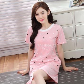 DCCKU62 2017 New Casual Cotton Nightgown Female Cartoon Lovely Loose Home Sleepwear Pyjamas Summer Short Sleeve Sexy Lingerie Nightdress