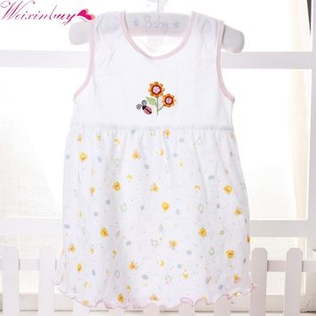 WEIXINBUY Summer Random Color Baby leeveless Printed A-Line Dress One Piece Mini Dress Cute Infant Baby Girls Dress 1-2Y