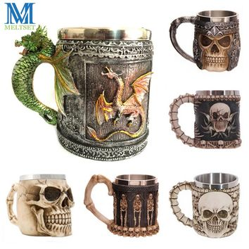 Novelty 3D Skull Mugs Coffee Cup Stainless Steel Beer Mug Personalized Drinking Cup