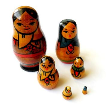 Vintage Mini Russian Nesting Doll Set - Micro Nesting Dolls - Made in USSR - Travel Souvenir - Matryoshka Doll